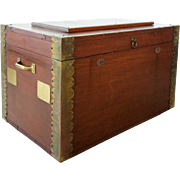 Small American Brass Mounted Poplar Blanket Chest or Toolbox