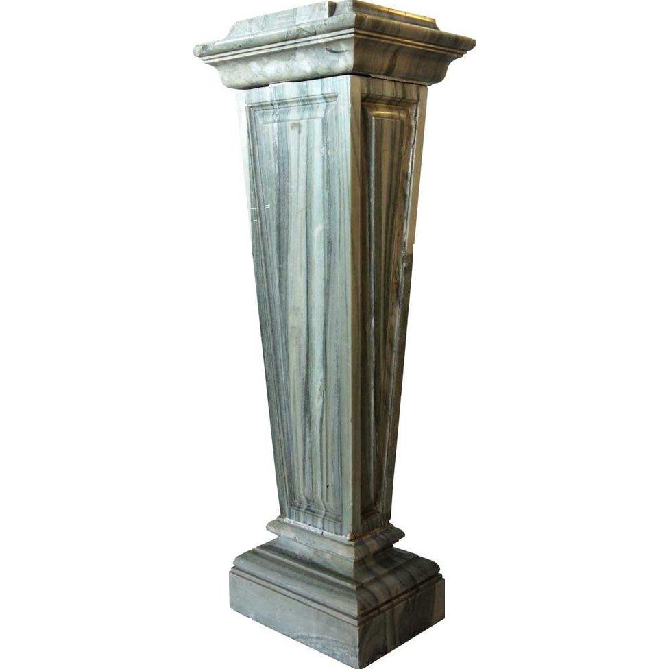 Italian/French Verte Demer Marble Column Pedestal