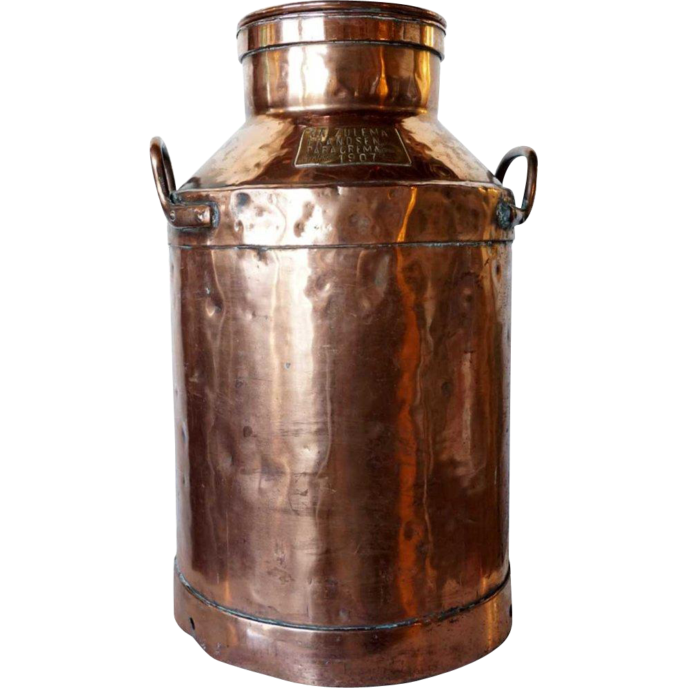 Argentine Copper Creamer Jug with Chained Lid