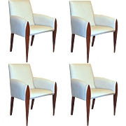 Set of 4 American Dakota Jackson Iko Comfort Leather Armchairs