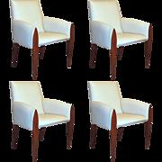 Set of 4 American Dakota Jackson Iko Comfort Leather Armchairs