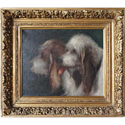 CHARLES ENDRES Oil on Canvas Painting, Portrait of Two Grand Griffon Vendeen Dogs
