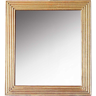 Italian Giltwood Rectangular Fluted Mirror