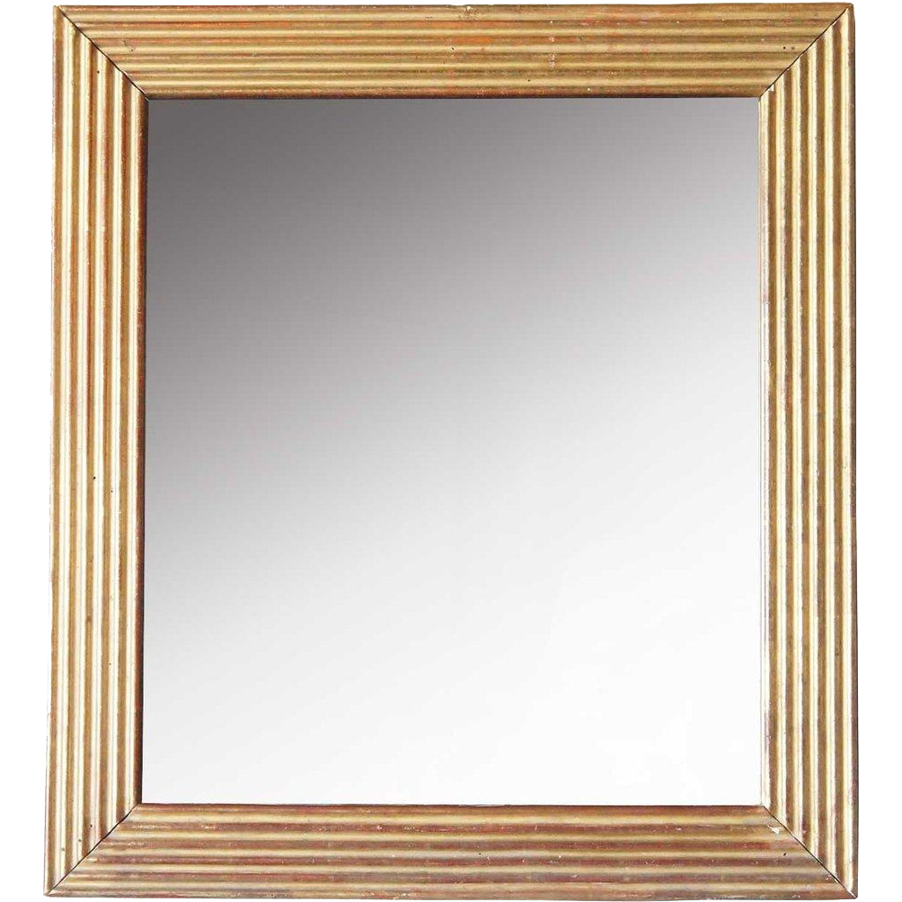 Italian Giltwood Rectangular Fluted Mirror