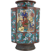 Chinese Champleve Enamel Vase as a Table Lamp Base