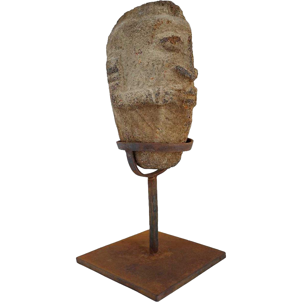 African Ancestor Stone Head Statue on Iron Base
