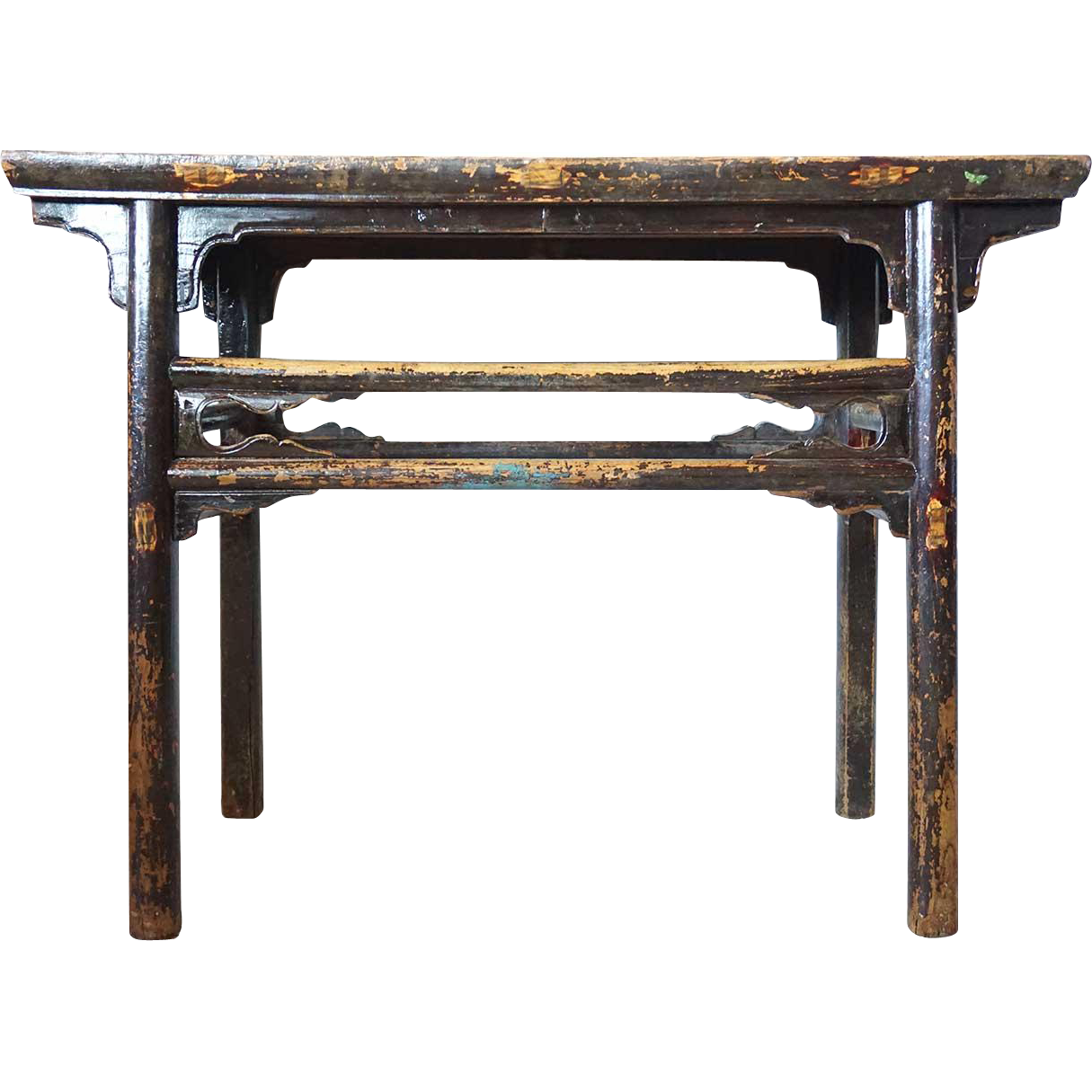 Small Chinese Black Lacquered Elm Altar Table Console