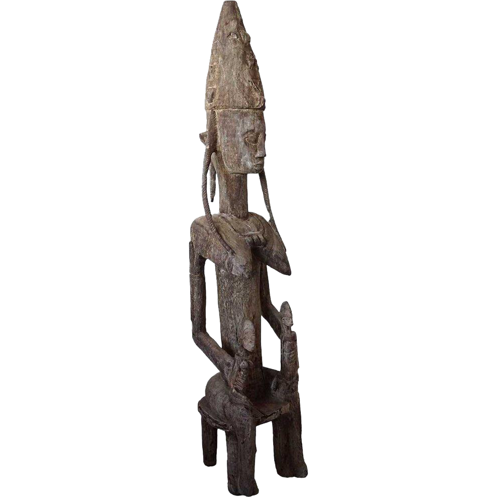African Bamana Palm Wood Statue of a Seated Mother Figure