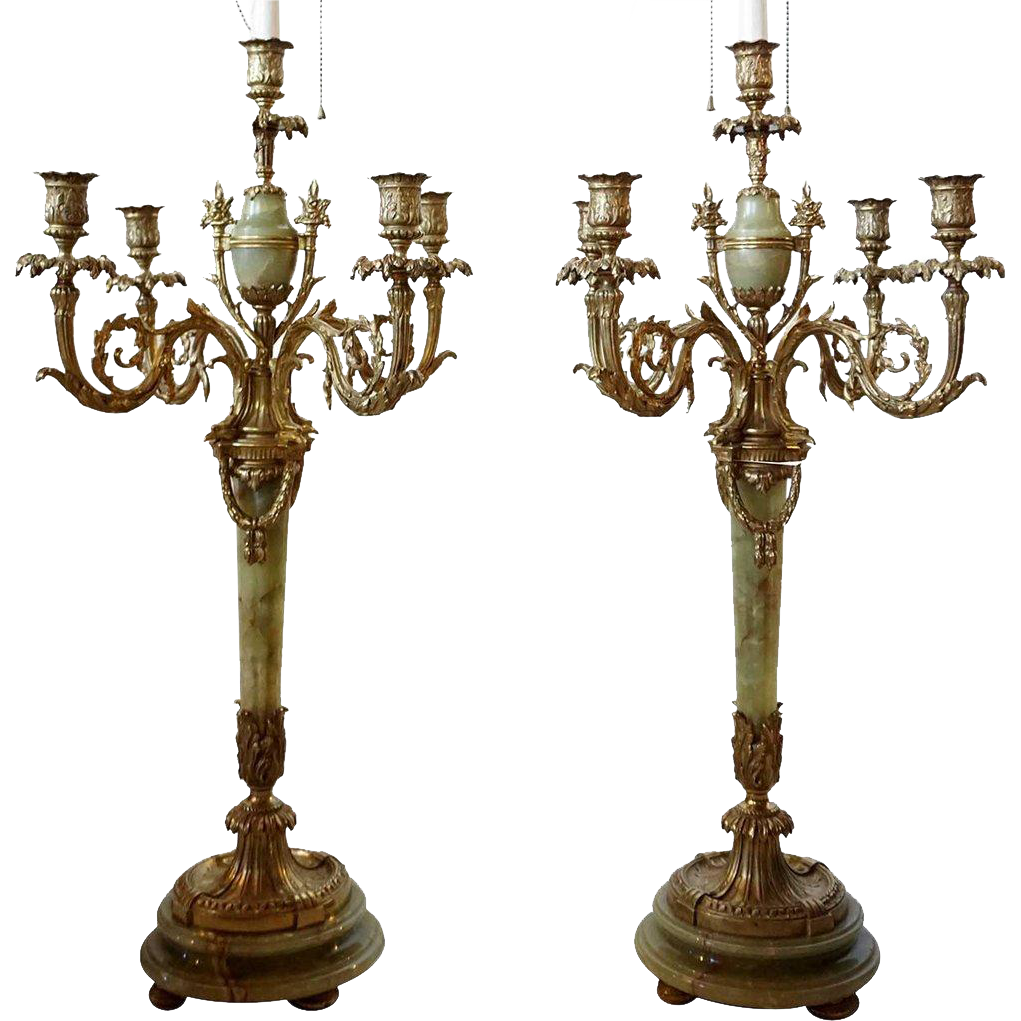 Pair of Gilt Bronze and Onyx Five-Light Candlebra as Table Lamps