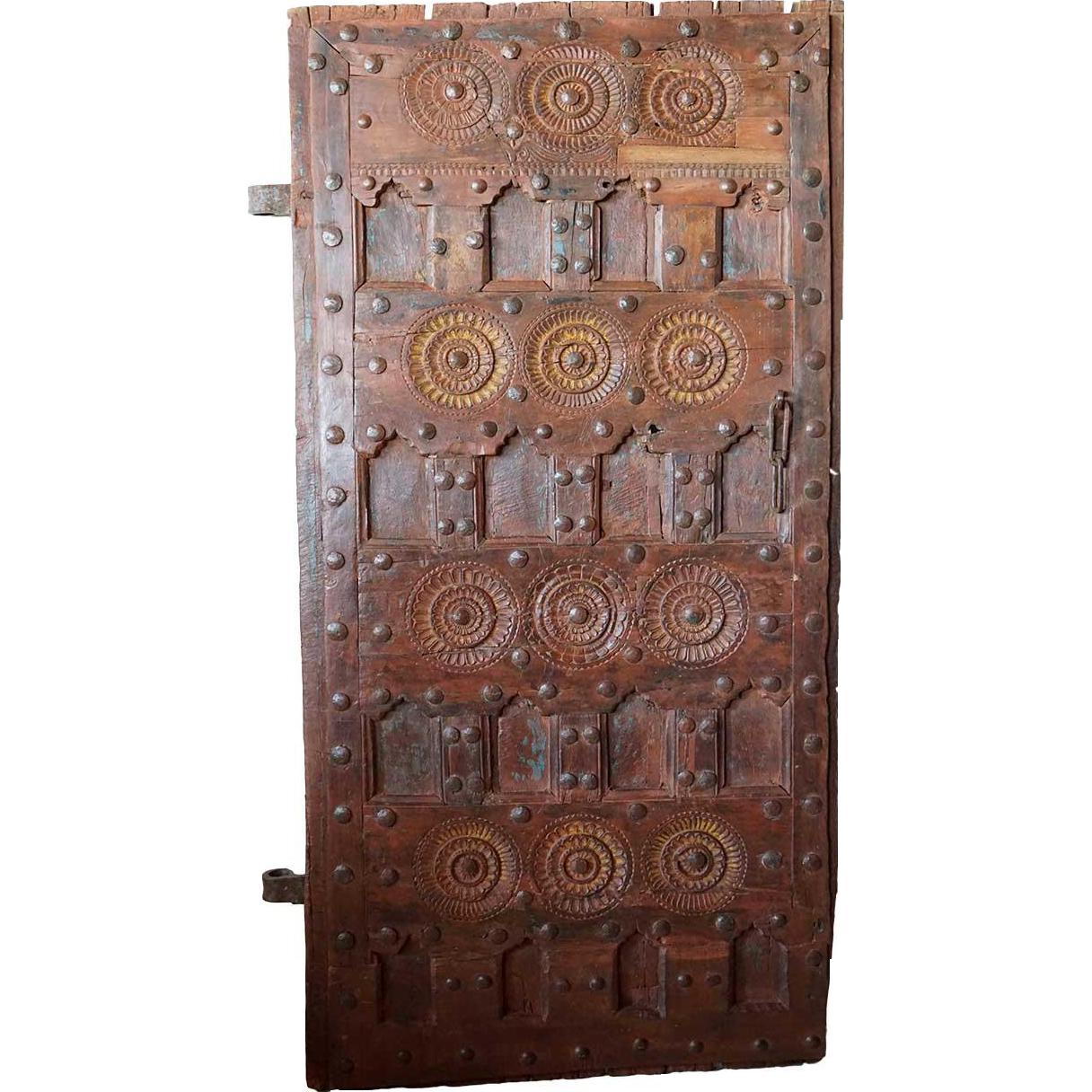 Indian Tribal Iron Mounted Teak Paneled Single Door