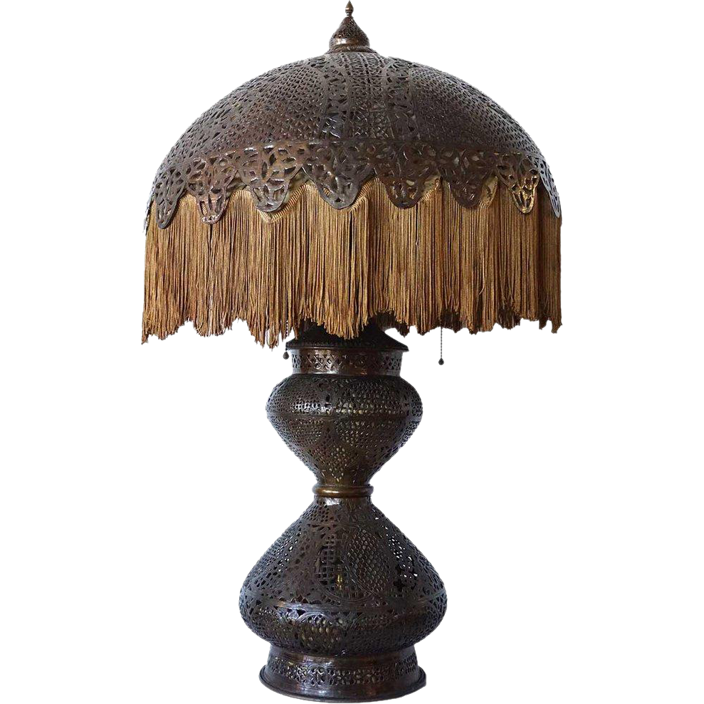 Indian Pierced Brass Three-Light Table Lamp