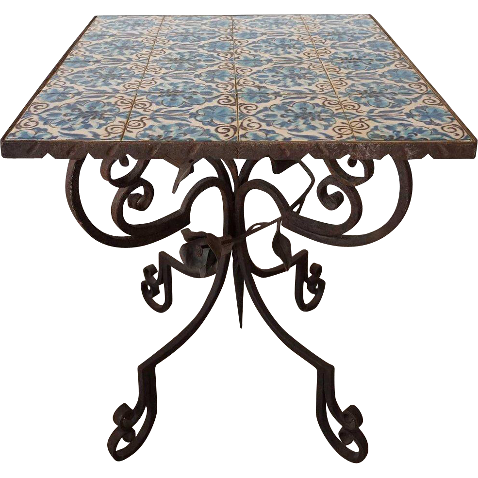 Italian Wrought Iron Tile Top Square Side Table