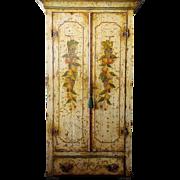 Italian Yellow Painted Walnut Linen Press Cabinet