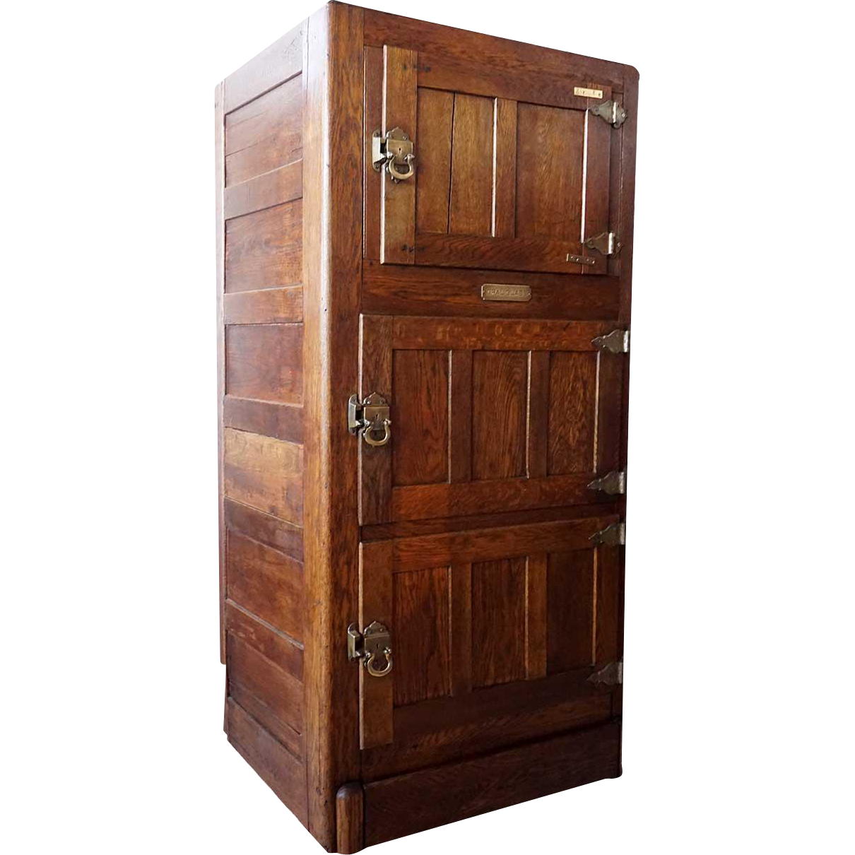 Tall American Opal Glass Oak Three-Section Ice Box