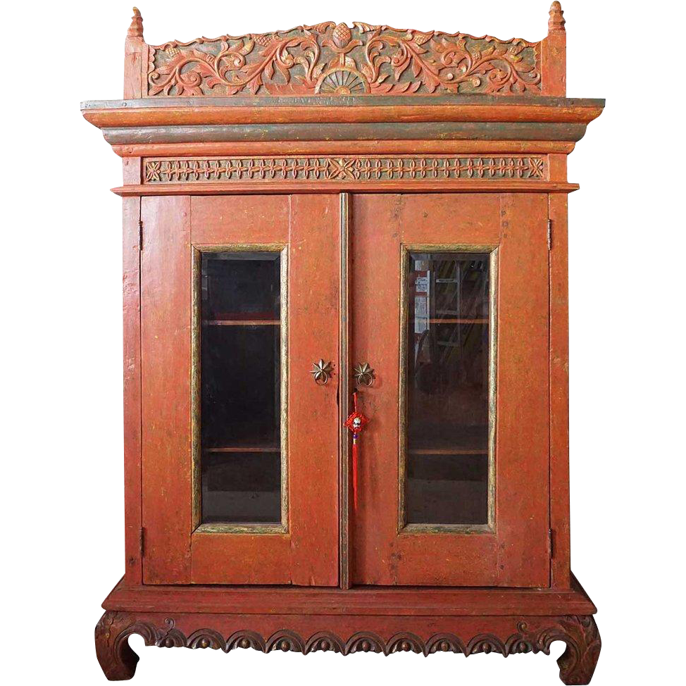 Thai/Bali Orange Painted Teak Glazed Door Cabinet