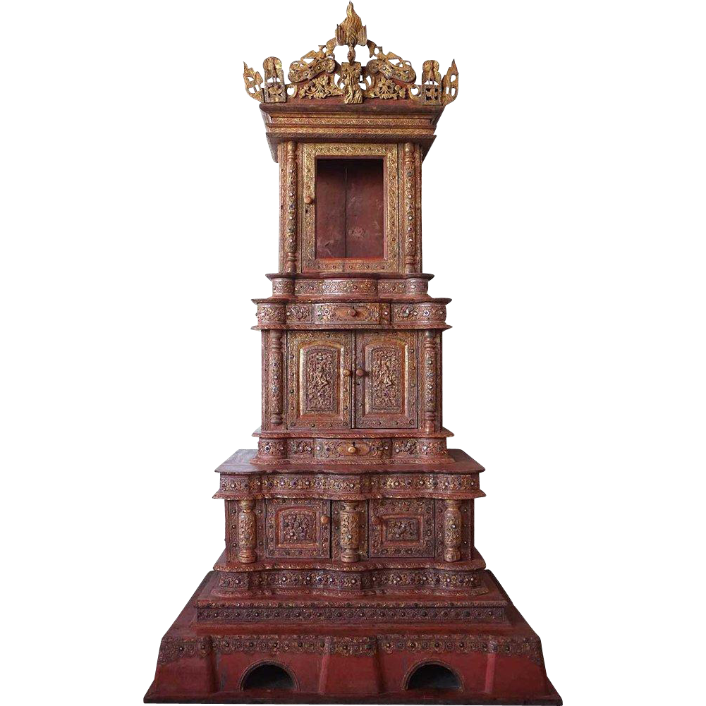 Very Large Burmese Teak Five-Piece Bejeweled Buddha Shrine Cabinet (Hpaya Khan)