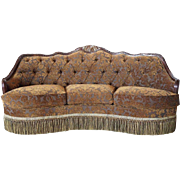 Tufted Upholstered Walnut Frame Three-Seater Sofa