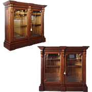 Pair of American Eastlake Glass Door Display or Bookcase Cabinets
