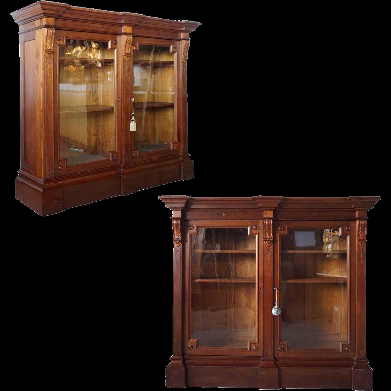 Pair of American Eastlake Glass Door Display or Bookcase Cabinets