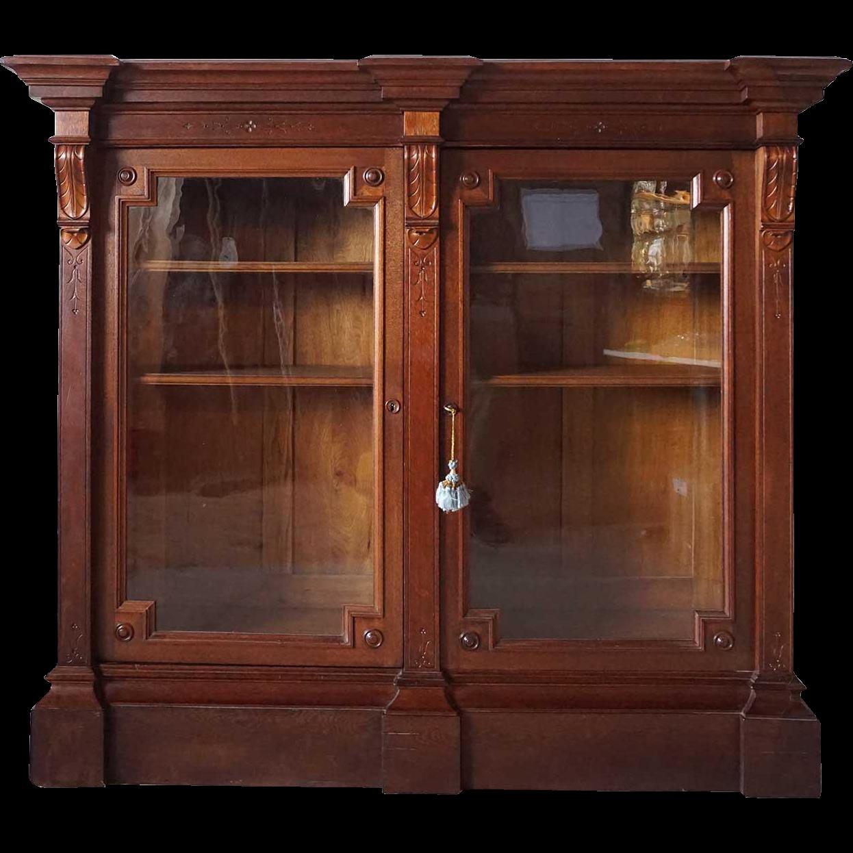 Pair Of American Eastlake Glass Door Display Or Bookcase
