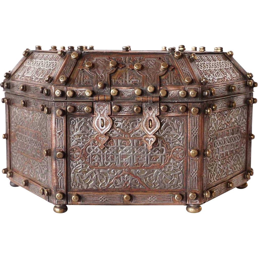 Syrian Chased and Hammered Silver, Brass and Copper Casket