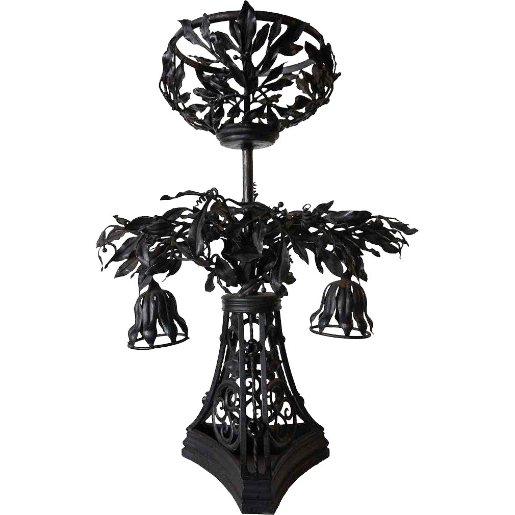English Art Nouveau Wrought Iron and Alabaster Shade Table Lamp