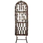 African Yoruba Bronze Reticulated Tableau Door on Stand
