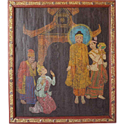 Burmese Painting on Panel, Deity Scene