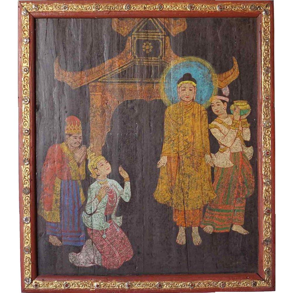 Burmese Painting on Panel, Deity Scene