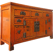 Chinese Orange Lacquered Pine Console Cabinet