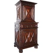 French Louis XIII Walnut Homme Debout Cabinet