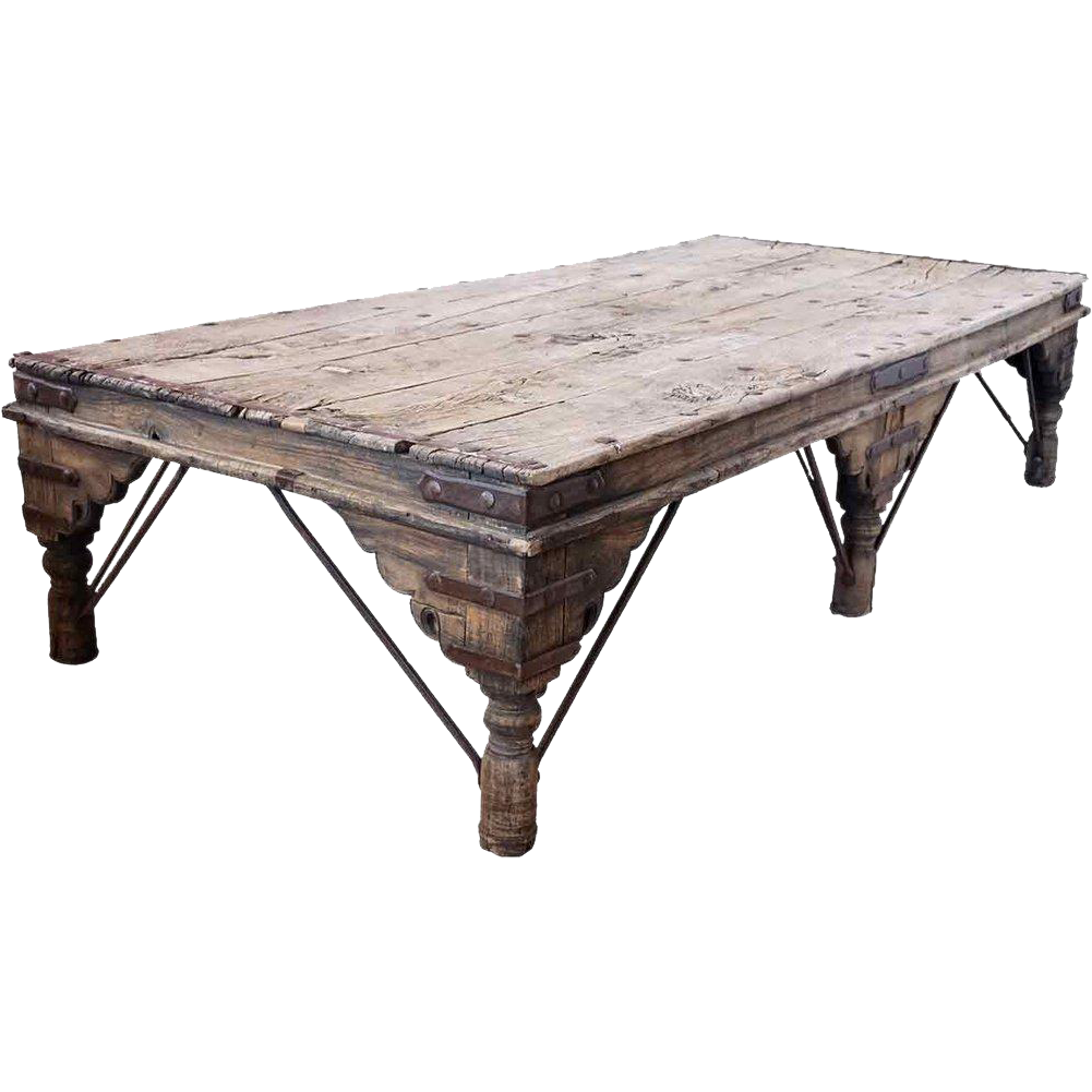 Indian Takhat Teak and Iron Bed or Low Table