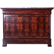 French Louis Philippe Marble Top Flame Mahogany Commode