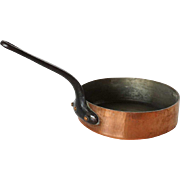 French Small Heavy Tin Lined Copper Cooking Pan