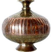 Indian Engraved Brass and Copper Vessel