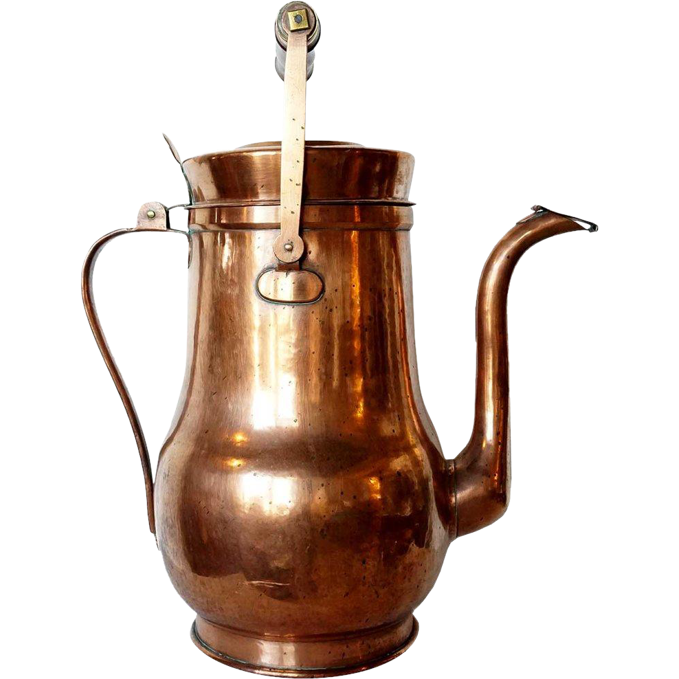 Large English Victorian Brass, Copper and Wood Handle Kettle
