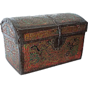 Early Spanish Tooled Leather Table Casket