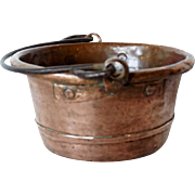 Round Copper Cooking Pot with Iron Handle