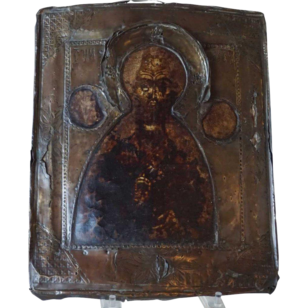 Russian Painted Brass Icon