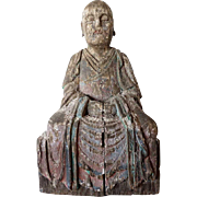 Chinese Painted Kiri Wood Lohan Statue