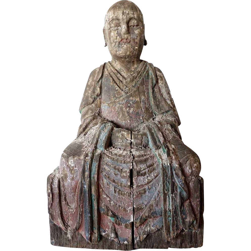Chinese Painted Kiri Wood Lohan Statue