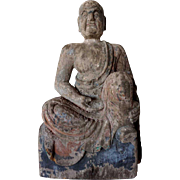 Large Chinese Buddhist Painted Kiri Wood Seated Lohan Statue