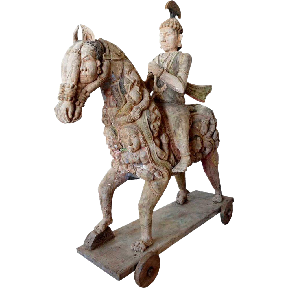 Indian Teak Rider and Horse