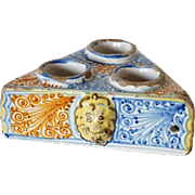 Spanish Tin Glazed Earthenware Triangular Salt Cellar
