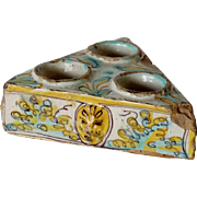 Spanish Talavera de la Reina Tin Glazed Earthenware Triangular Salt Cellar
