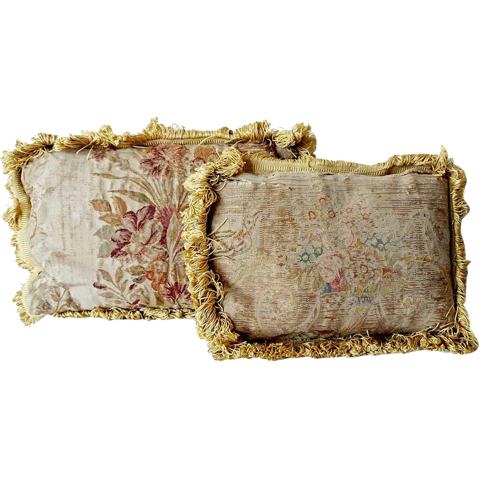 Two Small French Aubusson Tapestry Pillows