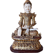 Vintage Burmese Mandalay Gilt Wood, Glass Inlaid and Alabaster Seated Buddha Statue