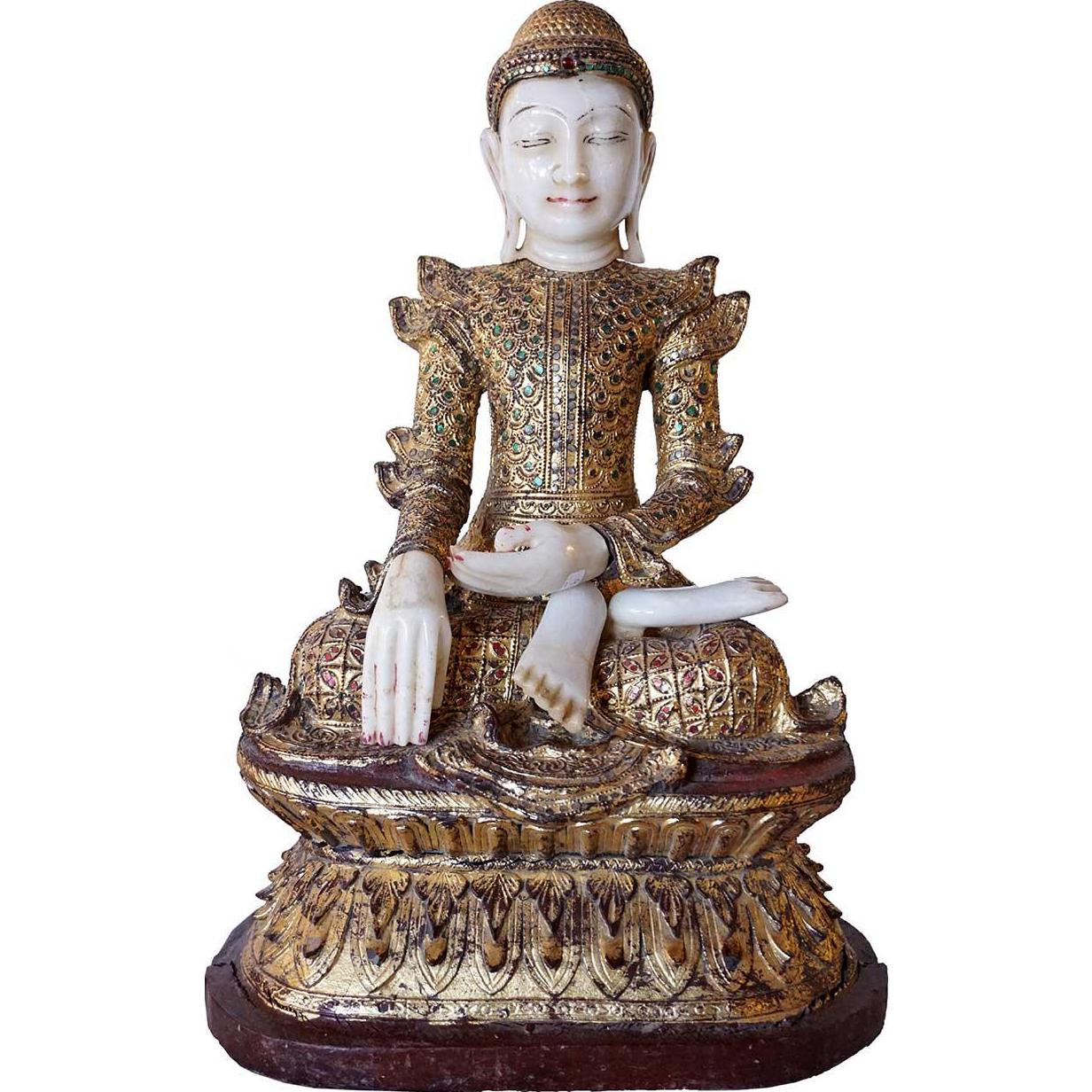 Vintage Burmese Mandalay Gilt Wood, Glass Inlaid and Alabaster Seated Buddha Statue