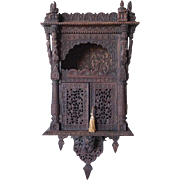 Anglo Indian Bombay Reticulated Teak Wall Cabinet