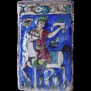 Persian Qajar Glazed Pottery Falconer on Horseback Tile